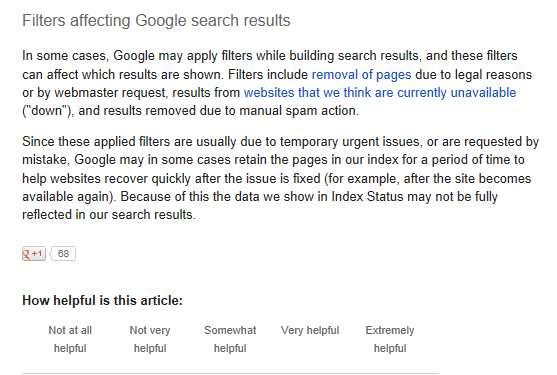 Filters affecting Google search results