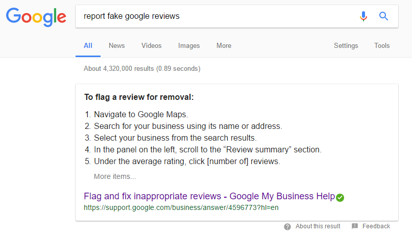Flagging a fake review on Google